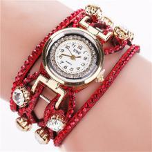 Luxus Leder Kristall Armband Uhr