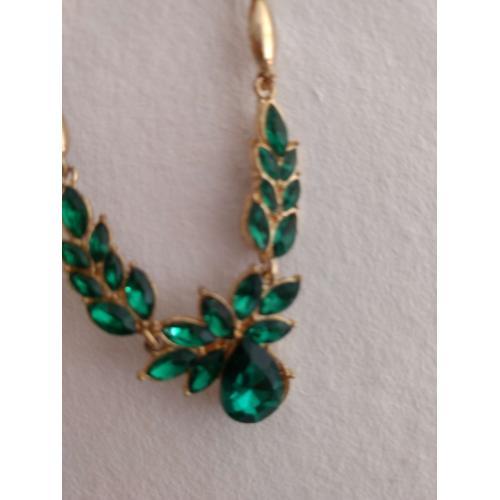 Halskette Kristall Ohrringen Mit Grün Gold SUpVMz