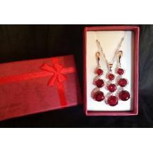 Edles 925 Sterling Silber Schmuck-Set Granat Rot