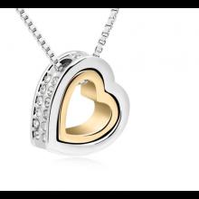 Doppel-Herz Halskette mit Zirkonia