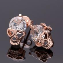 Rose`Gold Skulls Ohrstecker mit Kristall