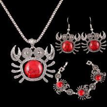 Roter Stein-Silber-Krebs Schmuck-Set
