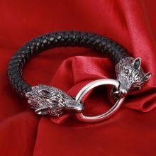Kraft-Tier *WOLF* Leder-Armband