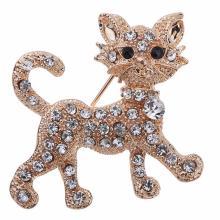 Glänzende Gold voller Strass Tiger Katze *Brosche*