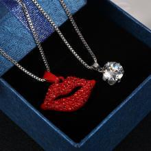 Doppelkette mit Kristall und Kuss Mund