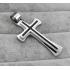 Kreuz-Kugel-Kette Edelstahl Silber/Schwarz